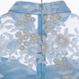 Image 5 - Dressv Elegante Cocktail Jurk Blauw Hoge Hals 3/4 Mouwen Knielengte Schede Gown Lady Homecoming Korte Cocktail Jurken