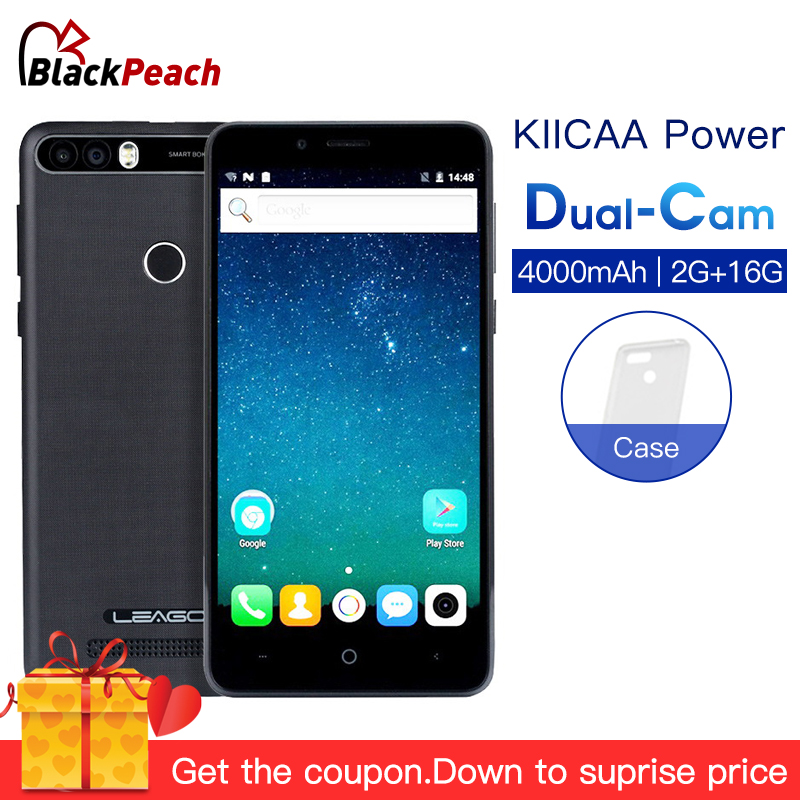 LEAGOO KIICAA POWER Android 7.0 Dual Camera 4000mAh Mobile Phone 5.0 Inch MT6580A Quad Core 2GB RAM 16GB Fingerprint Smartphone