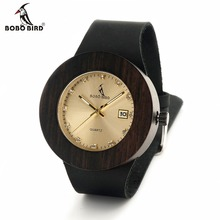 BOBO BIRD Womens Retro Wooden Gold Watches with Black Real Leather Straps Calendar Ladies Wristwatch
