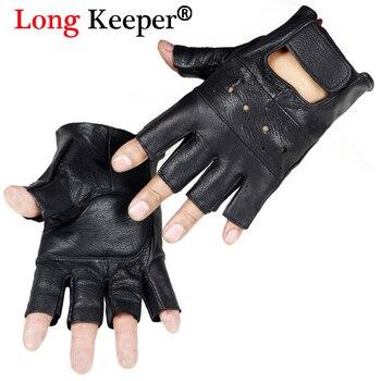 Long Keeper Men Gloves High Quality Genuine Leather Half Finger Anti Skid Fitness Sheep Fingerless G232