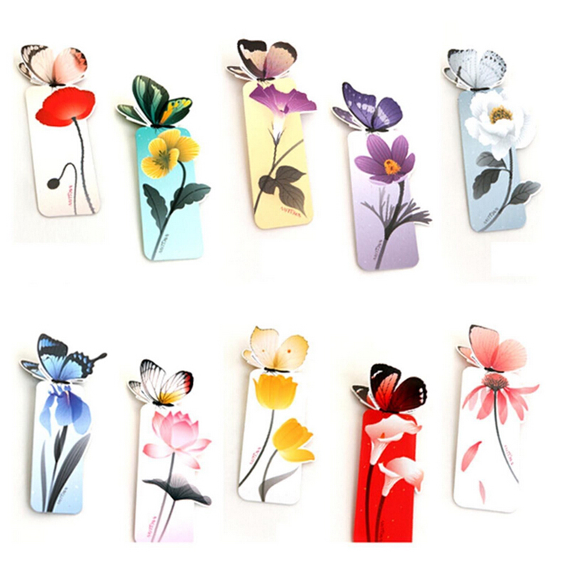 Books Marks Flower Print Bookmark Stationery Mini Paper 3D Stereo Butterfly Bookmarks For Kids Student School Supplies 4 Pcs