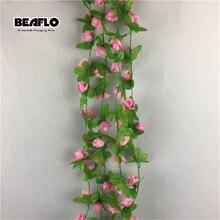 2 м 35 голов искусственная Цветочная лоза Роза поддельные шелковые цветы из ротанга домашнее свадебное украшение на стену para decora