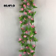 2m 35 głów sztuczne sztuczne kwiaty róża sztuczne jedwabne kwiaty rattanowe dekoracje ślubne domu ściany wiszące para decora tanie tanio BEAFLO Ślub D0002 Jedwabiu Kwiat Ciąg 2 Meter 35 Heads Wall Hanging Wedding Home Hotel Party Office Room Vine Rattan Flowers
