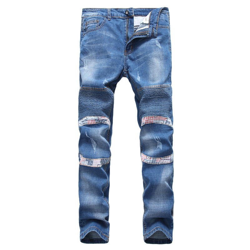 Men s slim pure blud large size biker brand jeans Fashion meth casual patchwork denim pant
