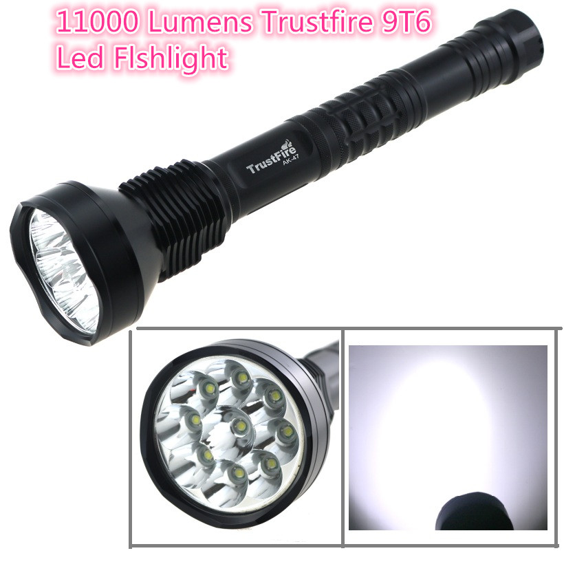 Trustfire 9T6 11000 Lumes Super Bright Hunting Led Flashlight 9xCREE XML T6 Led Torch Lamp For 18650 / 26650 Battery 5 Modes super bright 11000 lumen 9 x cree xml t6 led torch 5 mode flashlight with extendable arm powered by 18650 rechargeable battery
