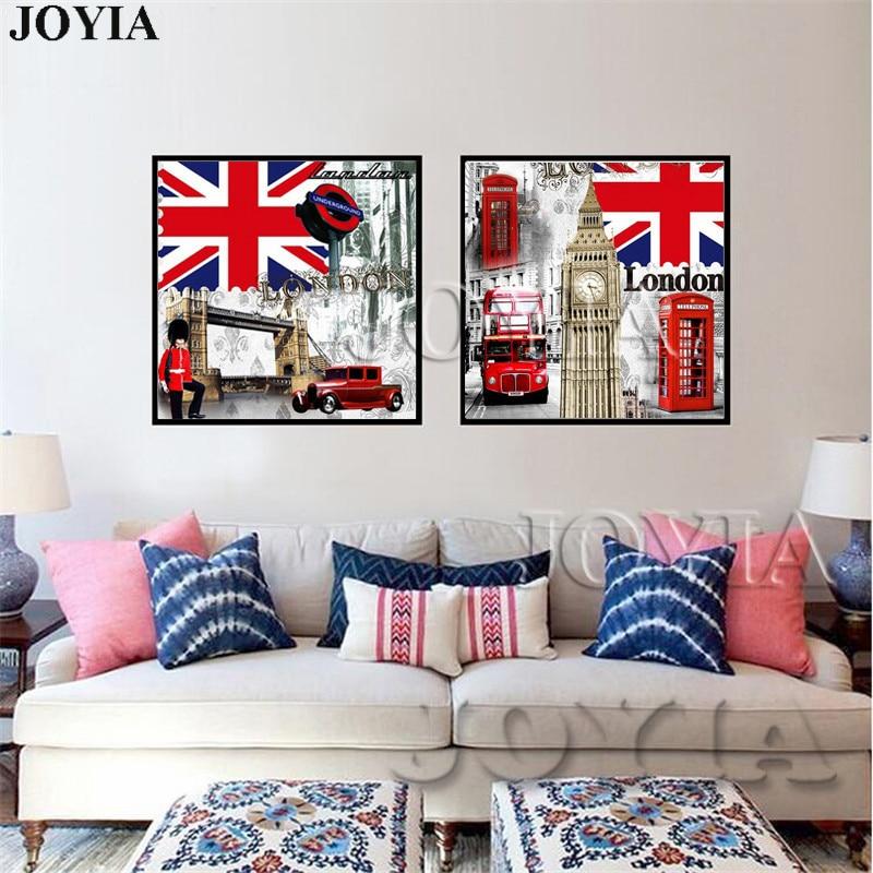 2 unidades estilo retro Londres Impresión de lienzo Bandera de Gran ...
