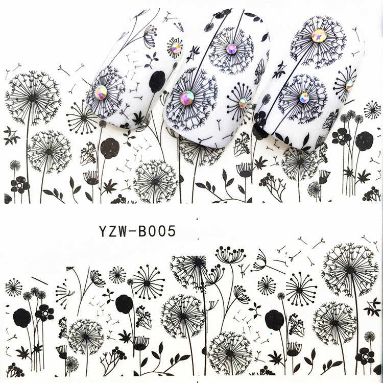 1 pcs Skull Halloween Plant Nail Sticker Water Decals Women White Flower Cat Butterfly Transfer Nail Art Decoration m2c2