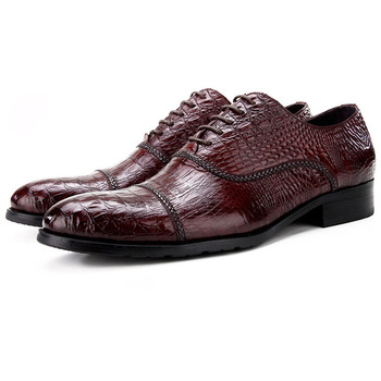 Crocodile Grain Wine Red / Black Wedding Groom Shoes Mens Dress Shoes Genuine Leather Oxford Business Shoes Male Social Shoes