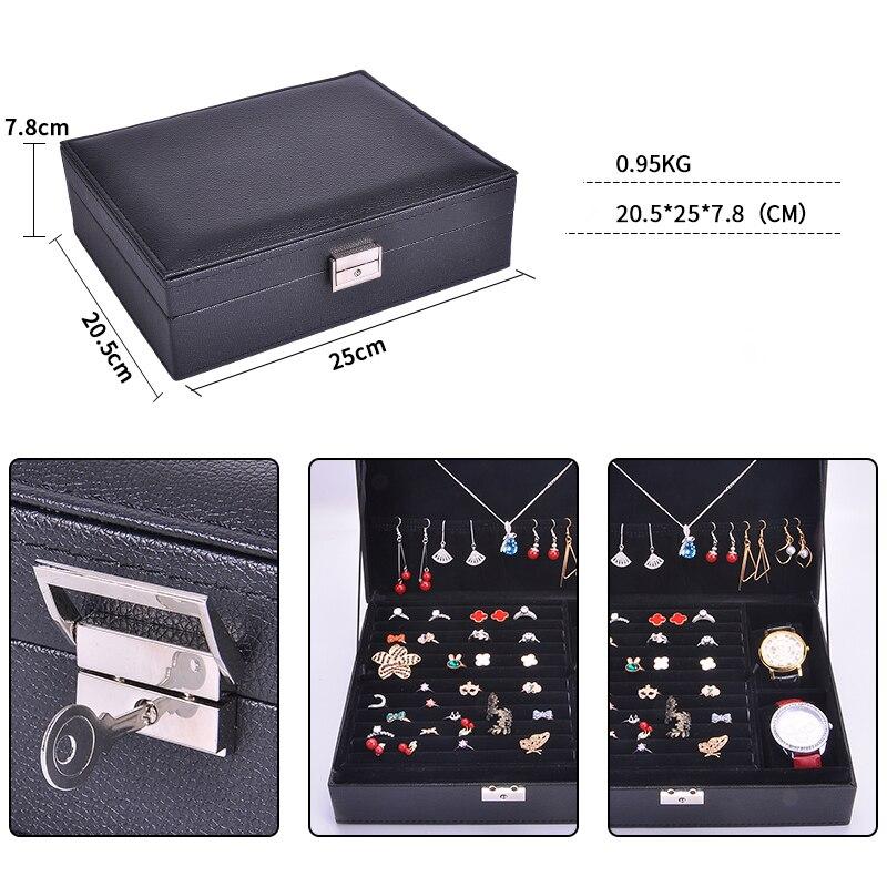 Guanya mujeres de cuero rectangular anillos de embalaje pendientes organizador de almacenamiento caja de exhibición exquisita caja de joyería de viaje regalo - 5