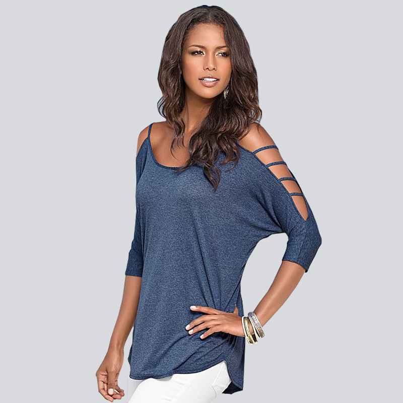 New UK Womens Stylish 3//4 Sleeve Cold Shoulder Blouse Ladies Casual Summer Tops