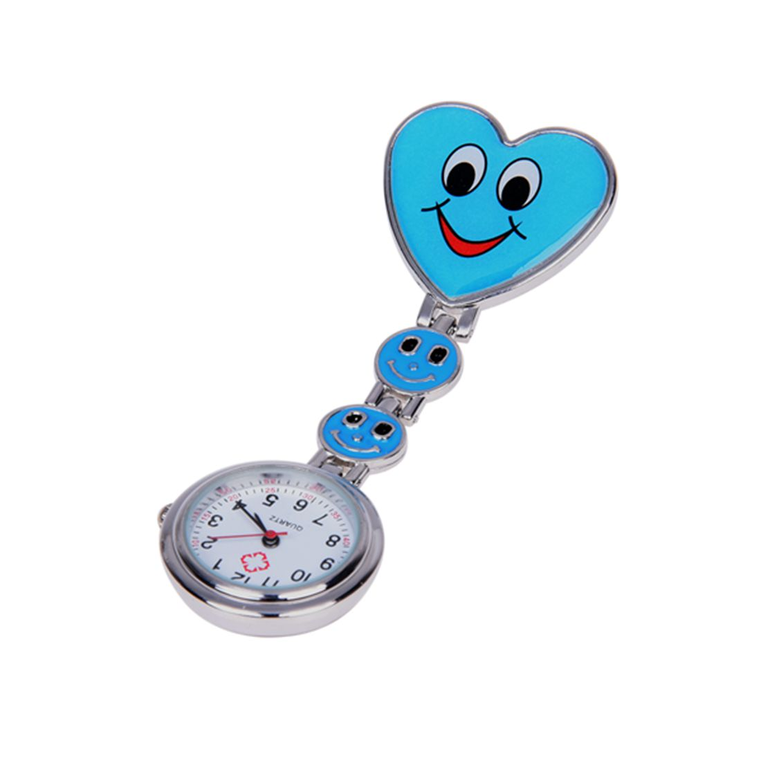 Blue Heart Quartz Movement Clip Nurse Brooch Fob Tunic Watch Smiley Face