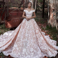 Floral 3D Long Dress Off the Shoulder Long Train Bridal Gowns Custom Made Appliques V Neck Floor Length Formal Party Dresses