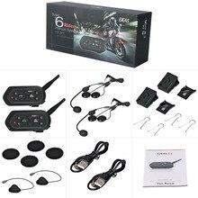 2 x 1300M Bluetooth Motorcycle Bike Helmet Interphone Intercom Headset FM E6
