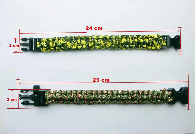 Fishsheep 24 cm Pulseiras de Sobrevivência Ao Ar Livre Camping Parachute Rope Pulseiras & Bangles Pulseira Homens Jóias