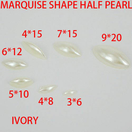 Free shipping  imitation pearls marquise shape flatback pearls ivory color great for nail cellphone laptop art   many sizes free shipping imitation pearls chain flatback resin material half pearls chain many styles to choose one roll per lot