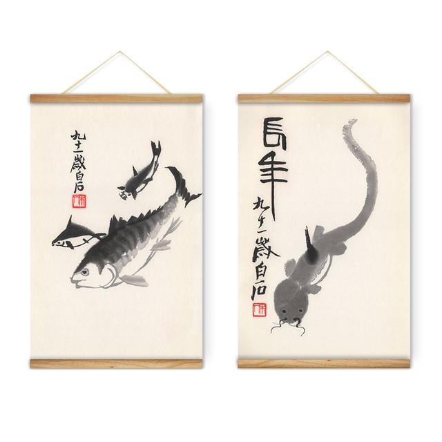 Scroll Wall Art aliexpress : buy 2 pieces chinese qi baishi ink animals fish