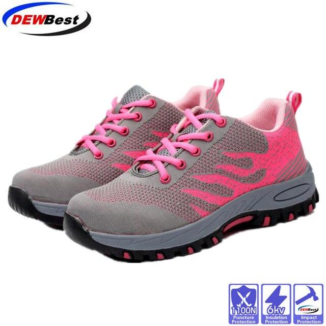 DEWBest thương hiệu thép toecap phụ nữ người đàn ông làm việc & khởi động an toàn thép giữa duy nhất tác động kháng mềm nam giày cộng với kích thước