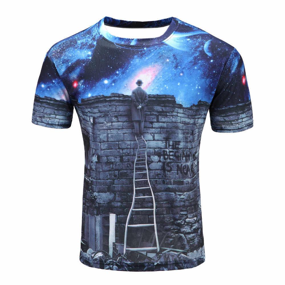 Mais novo Galaxy espaço impresso camisa de T camisa de verão criativo homens de nova 3D psicodélico de manga Curta tee shirts feminino roupas
