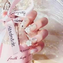 24 шт Свадебные накладные ногти с дизайном акриловые стразы цветок накладные ногти 3d поддельные ногти