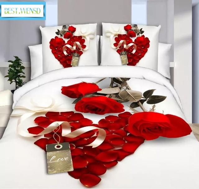 BEST.WENSD luxury jacquard bedclothes 3d Rose Wedding flat bed linen 100% microfibre bedding set duvet cover housse de couette