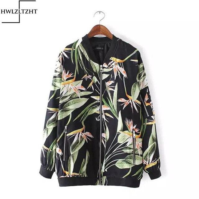 New European Elegant Flower Printed Womesn's Bomber Jacket Zipper Pocket Autumn Women's Jacket Coat jaqueta feminina