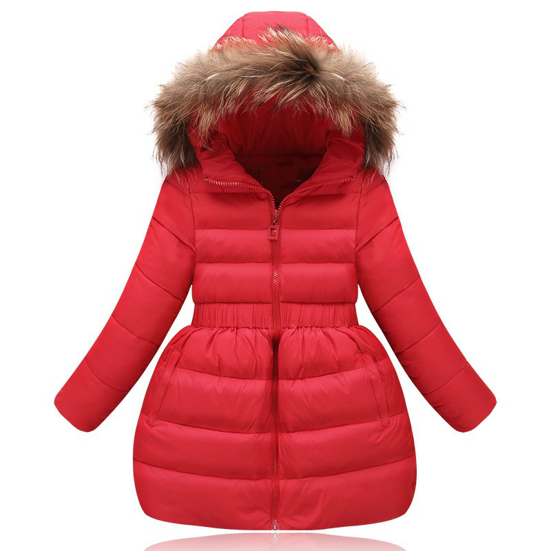 Hot Fashion Baby Gir 100% Down Winter Jackets Coat Long Thick Warm Children's Winter Clothing Outerwear &coats Duck Down Jacket