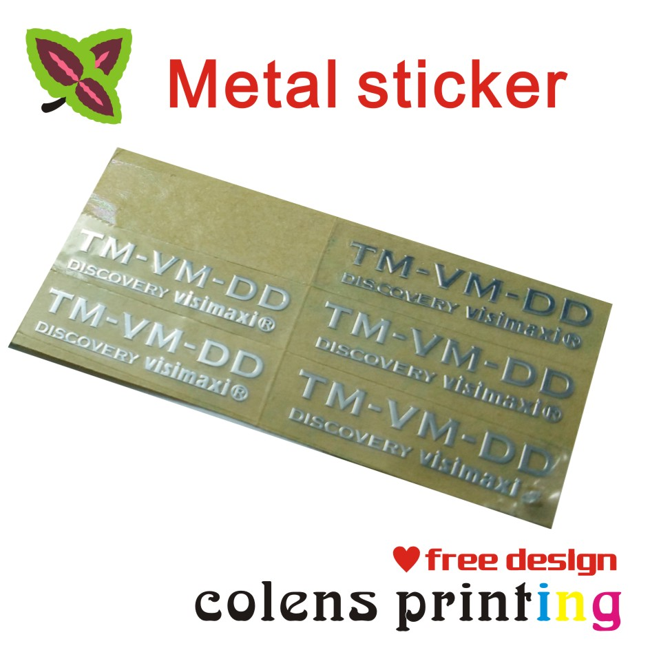 Us 61 25 custom metal label sticker printing metal logo tagsilver or gold color free design in stationery stickers from office school supplies