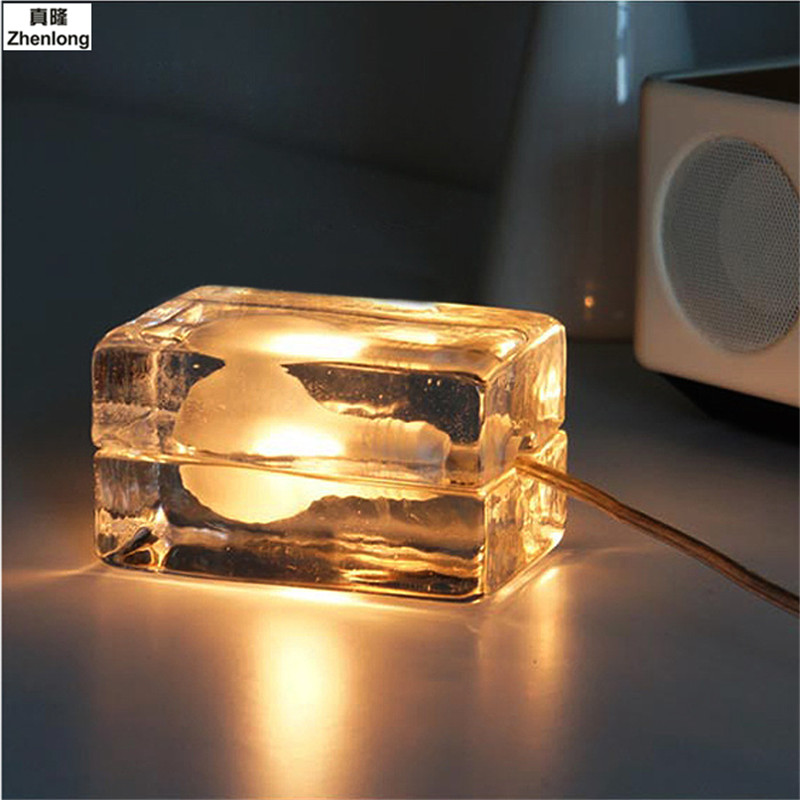 Transparent Glass Crystal Bulb G9 Modern Ice Table Lamp Creative Decorative Bedroom LED Ice Cream Brick Desk Lamp Warm/white Led