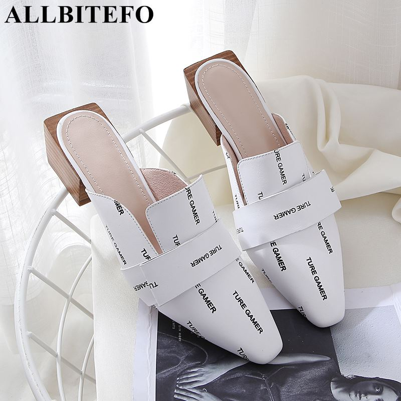 ALLBITEFO hot sale full genuine leather thick heel women sandals brand high heels flip flops party