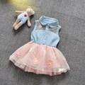 2017 Детские летние цветочные dress Дети новая мода рукавов лоскутное цветы mesh dress for Girls 6-24 месяцев