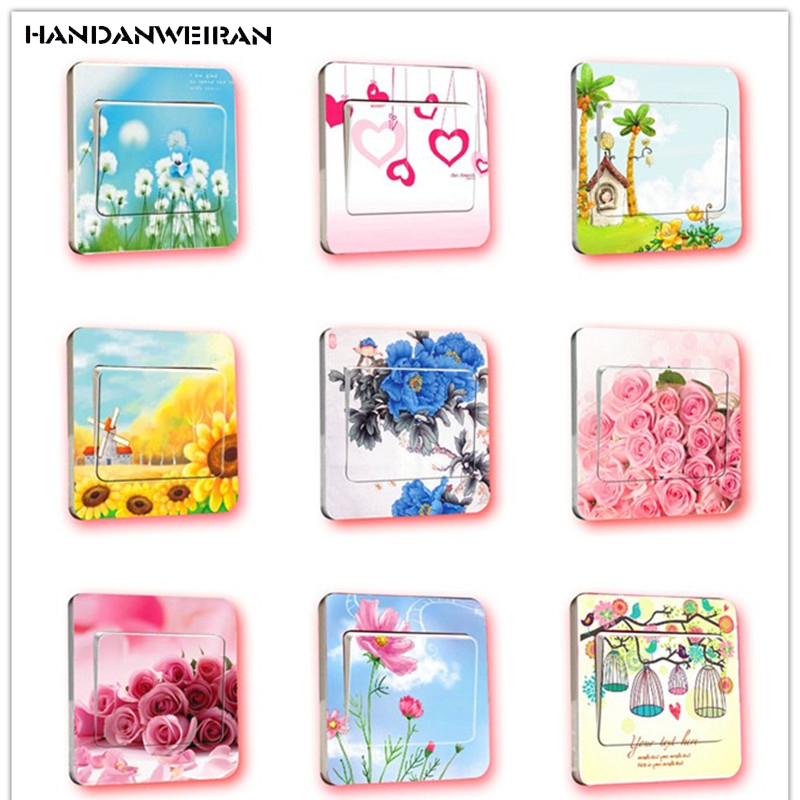 3PCS quality flower series switch sticker bedroom living room wall sticker home decoration childrens room sticker