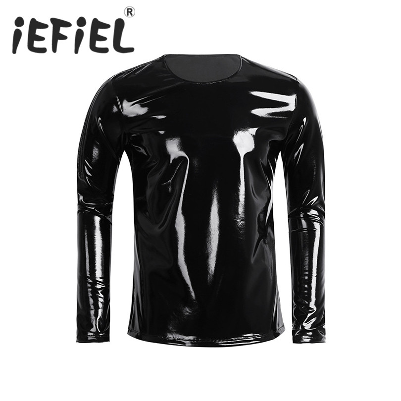 iEFiEL Fashion Men Patent Leather Long Sleeve Zipper T-shirt Nightclub Style Party Metallic Shiny Hip Hop Pullover T-Shirt Top