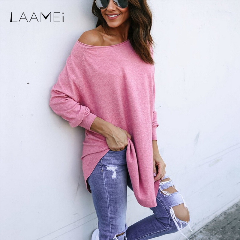 Laamei Wome O-Neck Long Tee Shirt Ladies Casual Long Sleeve Streetwear Tops New Arrival Spring Fashion Autumn Solid T-shirt