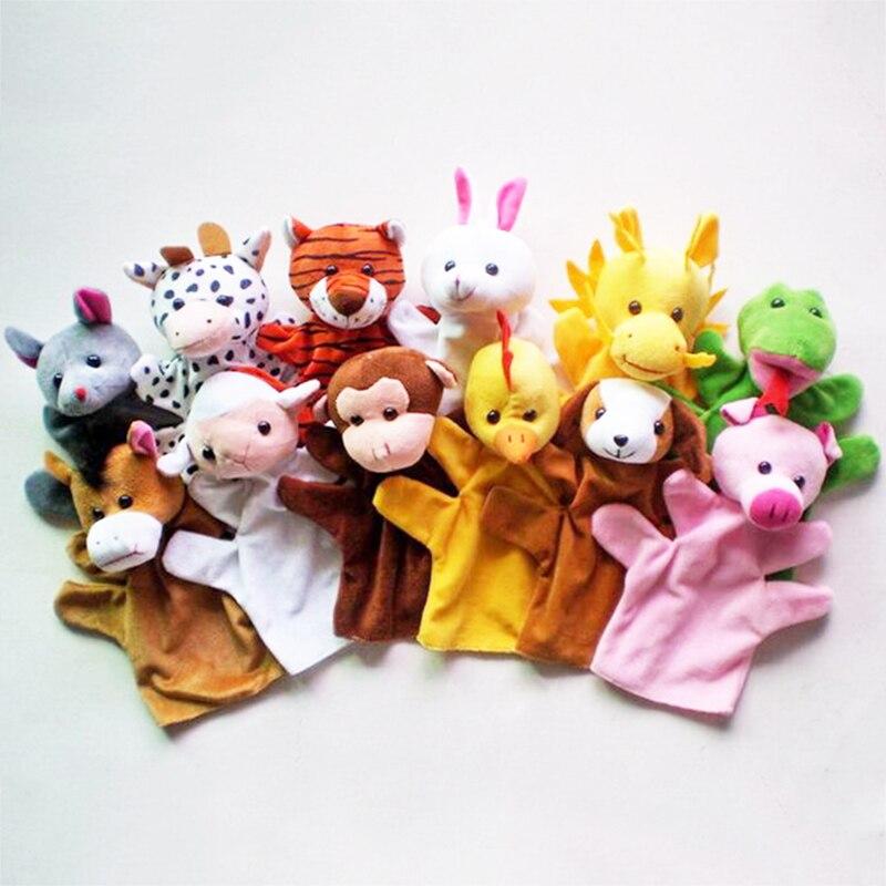 1 Pair Cartoon Animal Velvet Finger 1 big Puppet Finger Toy+1 small Finger  Doll Baby Cloth Educational Hand storys DSP05
