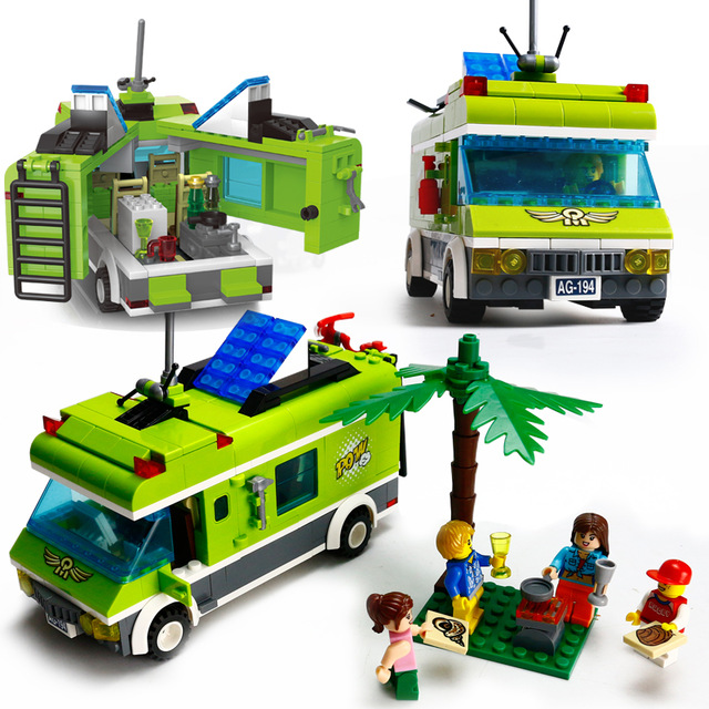 ENLIGHTEN City Pleasant Trip Car Outing Bus Car Building Blocks Sets Bricks Model Kids Toys Compatible Legoe Friends kazi 608pcs pirates armada flagship building blocks brinquedos caribbean warship sets the black pearl compatible with bricks