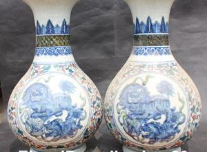 Rare Noble White Blue Colored Porcelai Foo Fu Dog Lion Leo Kylin Vase Pot Pair