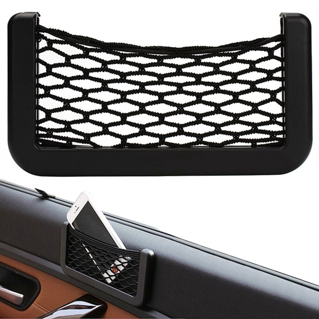 Car Net Phone Storage Organizer Pockets Car Back Rear Trunk Seat Elastic String Net Mesh Storage Bag Pocket Cage