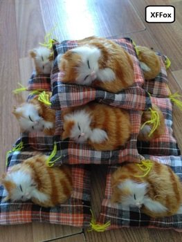10 pieces a lot real life cute cat models plastic&furs sleeping yellow cat dolls gift about 10cm xf1180