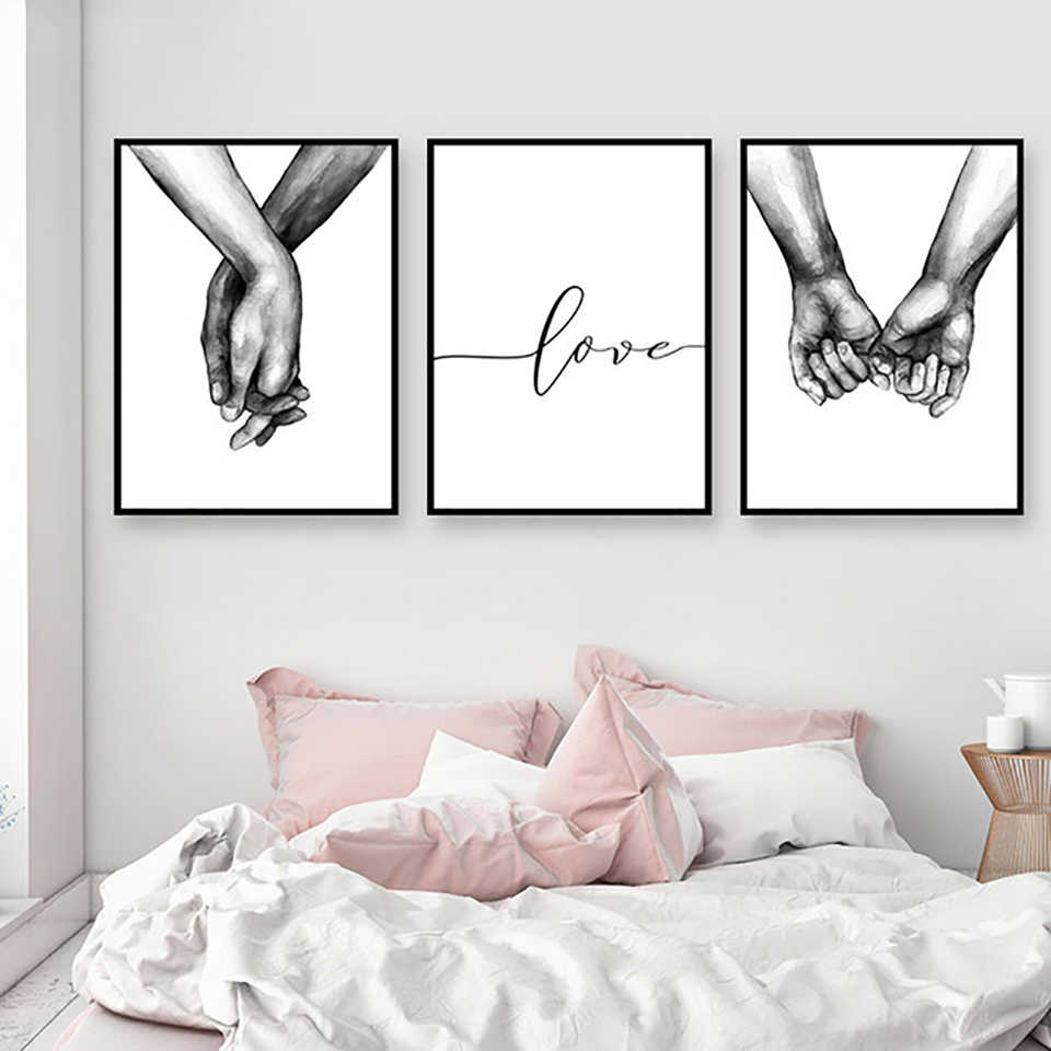 Home Decor Prints Nordic Style Wall Art Holding Hands Painting Love Pictures Modular Canvas Poster Modern For Bedside Background