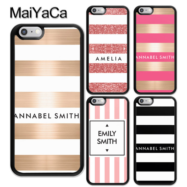 reputable site 15758 49df3 US $4.22 5% OFF|MaiYaCa PERSONALISED NAME INITIALS STRIPE Rubber Mobile  Phone Case For iPhone 6 6S Plus 7 8 Plus X XR XS MAX 5 5S SE Cover Shell-in  ...