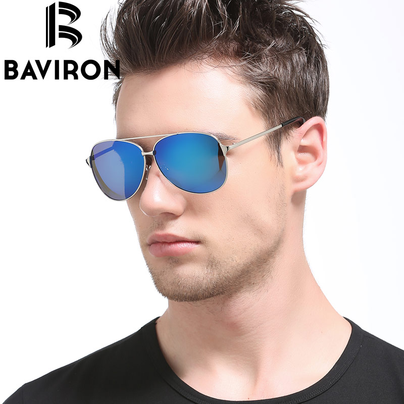 Baviron Men Retro Polarized Sunglasses Square Lightweight Metal Frame Glasses