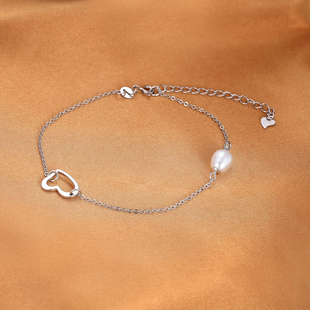 925 Sterling Silver 7-9mm Freshwater Cultured Pearl with Heart Charm Anklet
