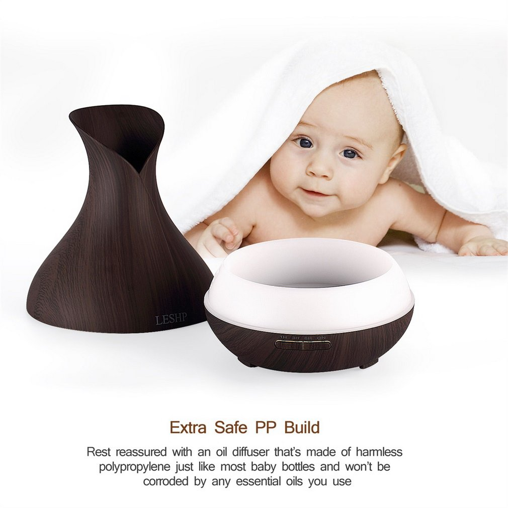 New Vase Air Purifier Electric Oil Burner Aroma Diffuser Ultra-quiet Auto-off Humidifier Aromatherapy Light Wood Grain
