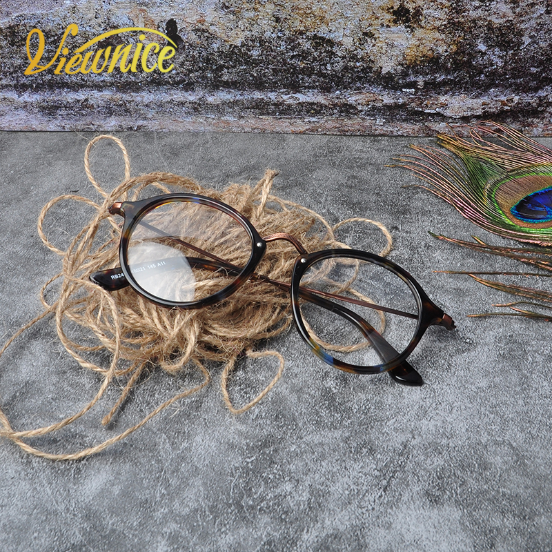 2017 Hot Retro brýle na čtení Acetate Frame Round Women Vintage Fashion Men Round Anti blue light Black Tortoise Glasses Clear