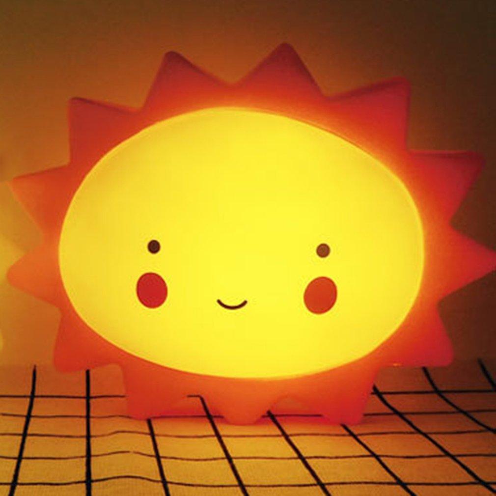 New Cartoon Sun Shape Children Bedroom LED Night Light Cute Soft PVC Baby Kids Nursery Bedroom Baby Feeding Night Light Decor