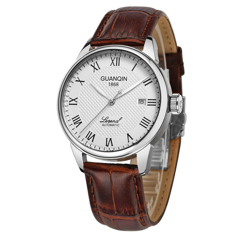 GUANQIN Mens Automatic Mechanical Watch Leather Strap Classic Retro Auto Self-Wind WristwatchGUANQIN Mens Automatic Mechanical Watch Leather Strap Classic Retro Auto Self-Wind Wristwatch