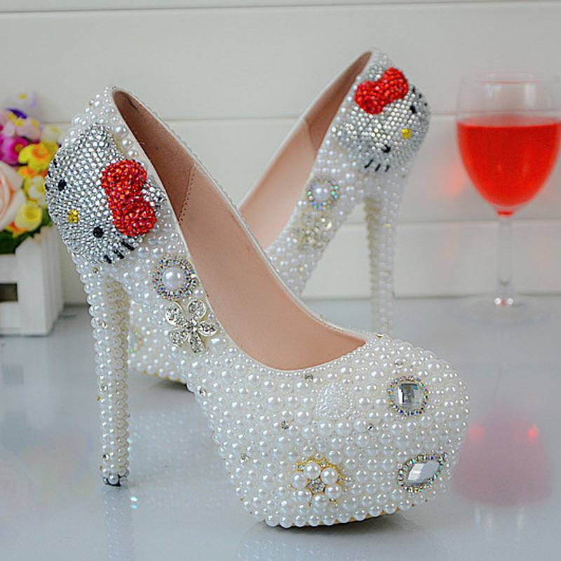 цена на White Pearl Spring Autumn Lady Party Shoes Cartoon Hello Kitty Rhinestone Wedding Shoes Anniversary Party Prom Heels Big Size 45
