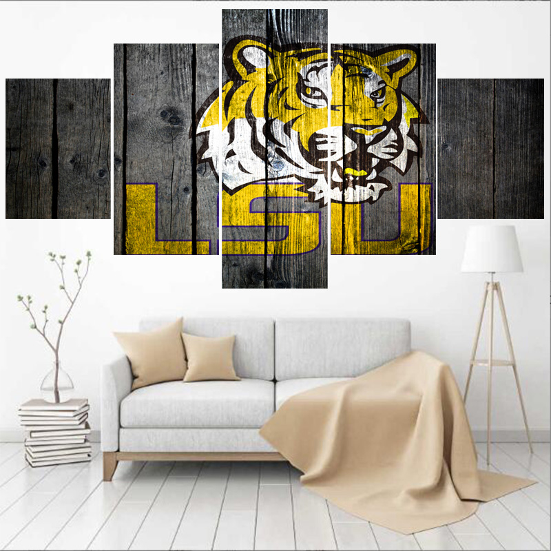 University Rugby Team Clemson Tigers Paintings Modern Home Decor Mesmerizing Lsu Bedroom Style Painting