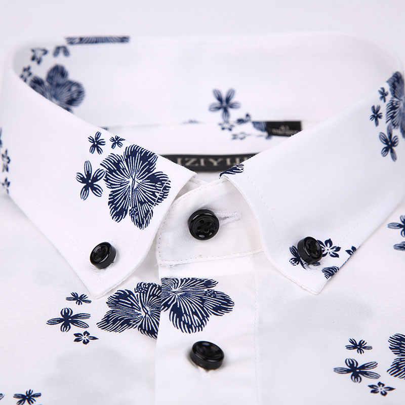 2019 Роскошные брендовые летние хлопковые мужские повседневные рубашки с рисунком с коротким рукавом высокого качества мягкие модные цветочные приталенные рубашки
