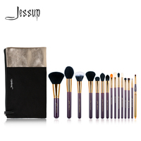 Jessup Brand 15pcs Beauty Makeup Brushes Set Brush Tool Purple And Gold T095 Cosmetics Bags Women